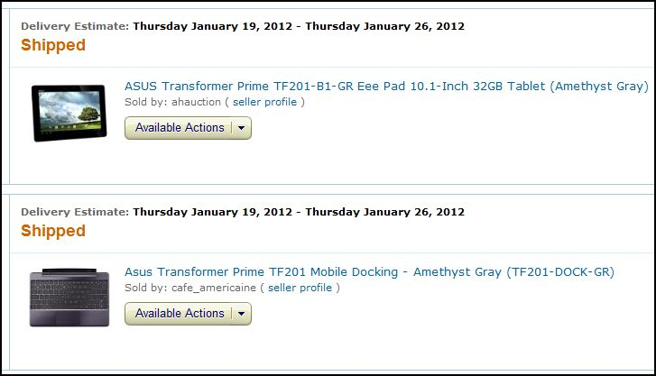 Transformer Prime was bought on Amazon