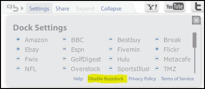 Disable Buzzdock Ad on Google